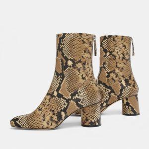 Zara snake print booties size 42